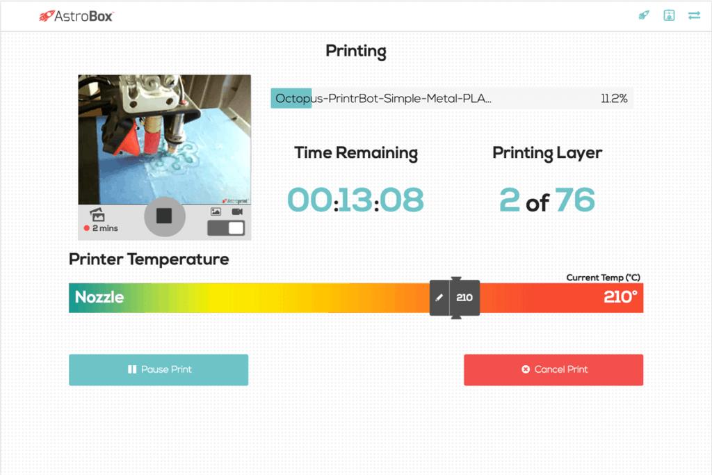 AstroPrint Interface for Best 3D Printer Wireless Host Software